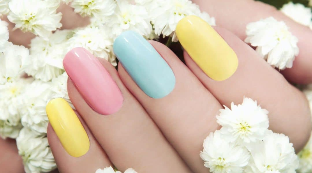 Pastel Colored Gel Manicure with Flowers Around Hands