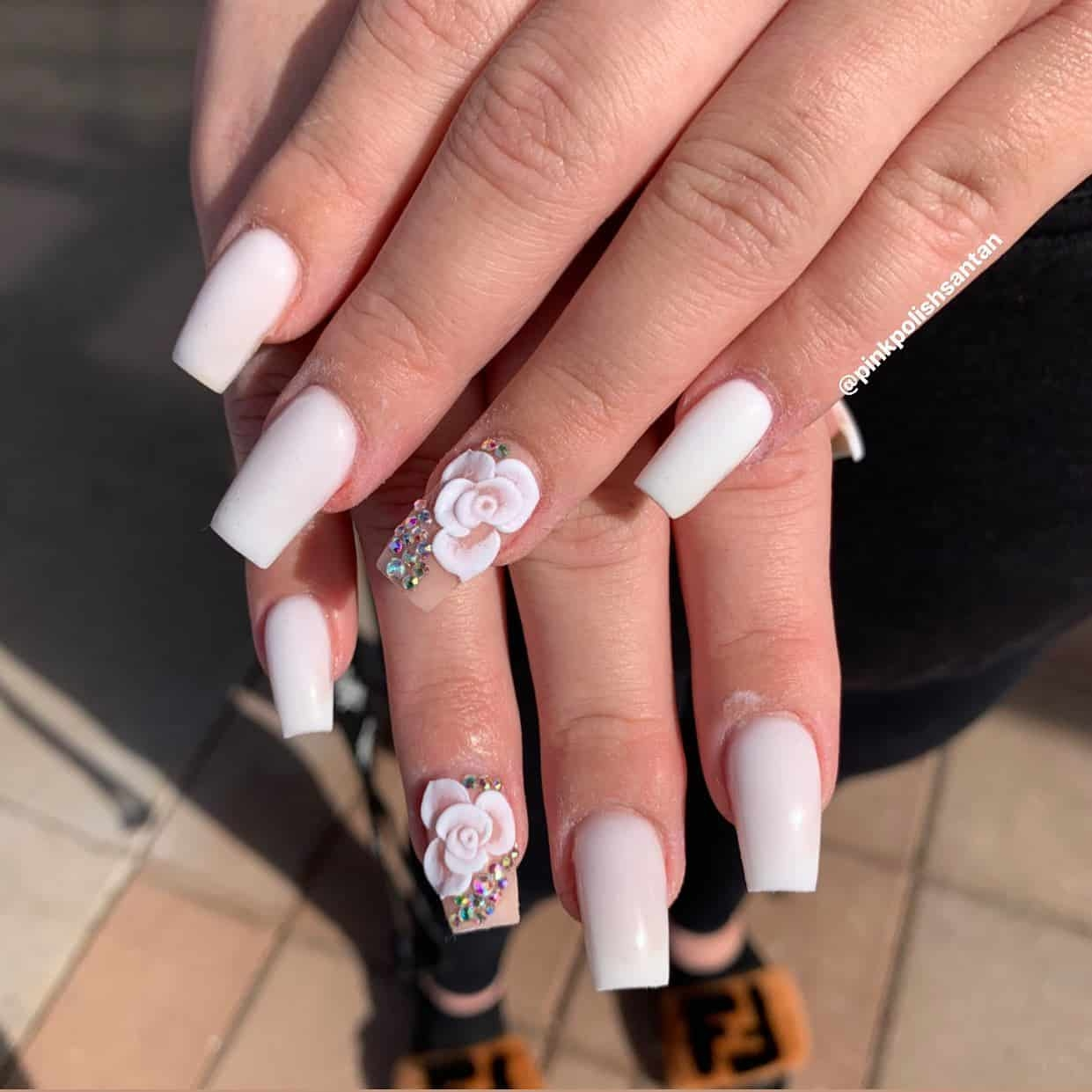 White Rose Ambush Nails Design