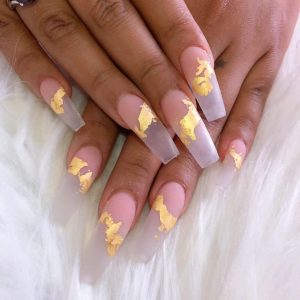 Gold Flakes On Nails